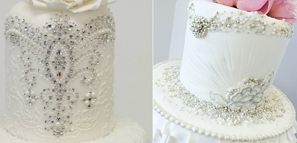 jewelled lace wedding cake by Emma Jayne Designs left, A Cake Life Hawaii, right