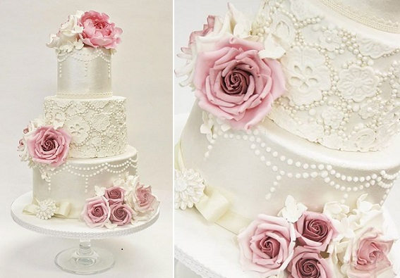 Pearl Beaded Lace Wedding Cake By Sannas Tartor