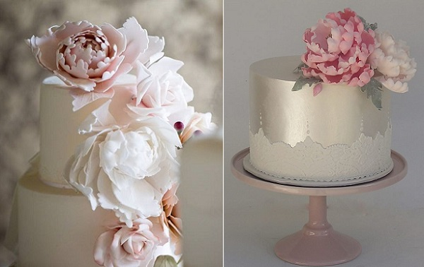 peony cakes by Willow & Bloom Cakes left, Chris Giles Phot, Cakesalouisa right