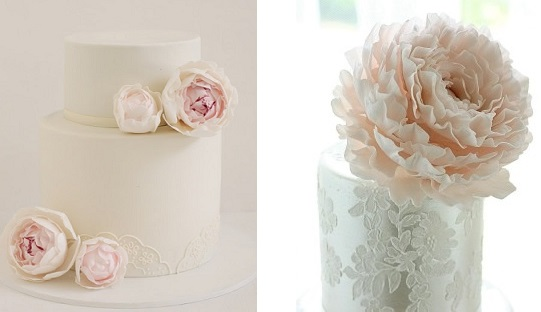 peony wedding cakes by Hello Naomi left, Leslie Matsis right