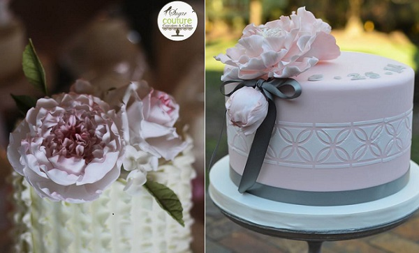sugar peonies by Sugar Couture Cupcakes left, But A Dream Custom  Cakes right