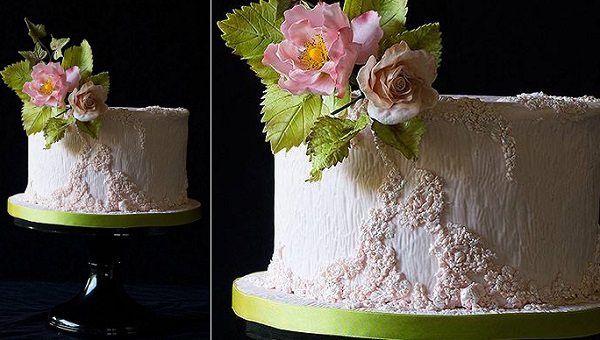 textured effect cake with white woodgrain by Lina Veber Cake