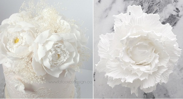 white open peonies by Fat Cakes Design UK left, textured peony by Jenna Rae Cakes left