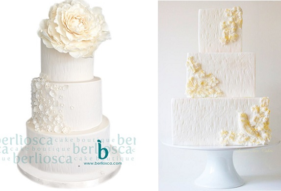 white woodgrain effect wedding cakes by Berliosca Cake Boutique left, Lemon Tree Cakes right