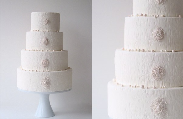 woodgrain texture in white wedding cake by Maggie Austin Cake