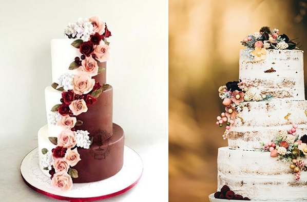 autumn  floral wedding cakes by Firefly India left, image right Crystal Stokes Photography via Ruffled