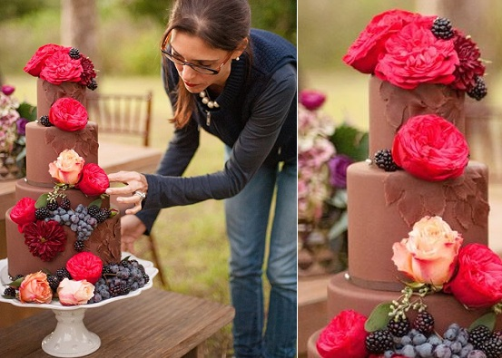autumn wedding cake in chocolate with berries and flowers by The Pastry Studio, Laura Yang Photography