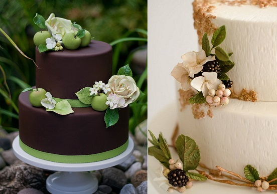 autumn wedding cake with apple blossoms and roses by Erica O'Brien left, blackberry wedding cake by Maggie Austin right