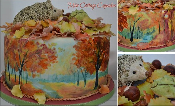 autumn woodland cake with hedgehog by Mon Cottage Cupcakes
