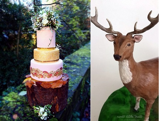 autumn woodland wedding cake by The Dainty Bow Bakery left, deer cake sculpture by Sweet Little Treat Cakes by Karin right