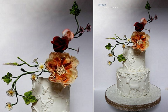 autumn woodland wedding cake wildlife inspired cake for fall wedding by Sweet Bo and Frank