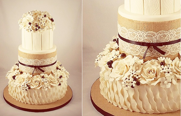 fall wedding cake with burlap and lace by Little Acre Cake Maker
