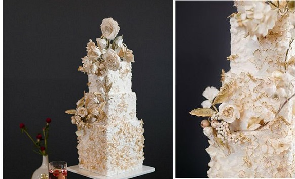 fall wedding cake with sugar flowers by Maggie Austin Cake, image Michelle Lindsay
