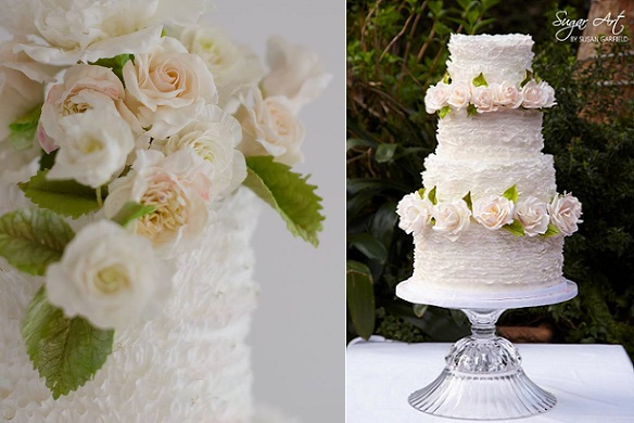 floral wedding cakes with fondant frills by Maggie Austin left, Sugar Art by Susan Garfield right