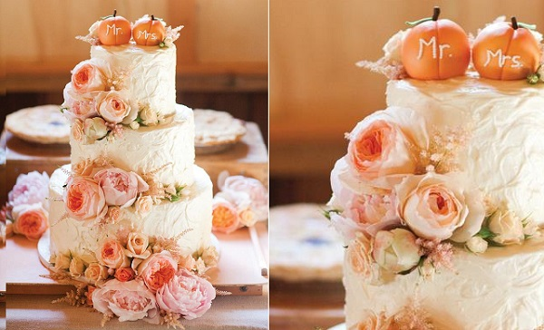 pumpkins and roses fall wedding cake by Jen's Cakes, image Emily Scannell