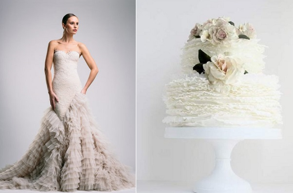 ruffle wedding cake Suzanne-Harward left, ruffle wedding cake with blush roses by Maggie Austin right