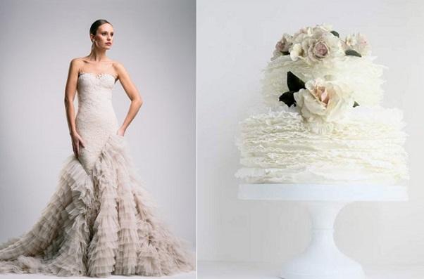 ruffle wedding cake Suzanne-Harward left, ruffle wedding cake with blush roses by Maggie Austin right