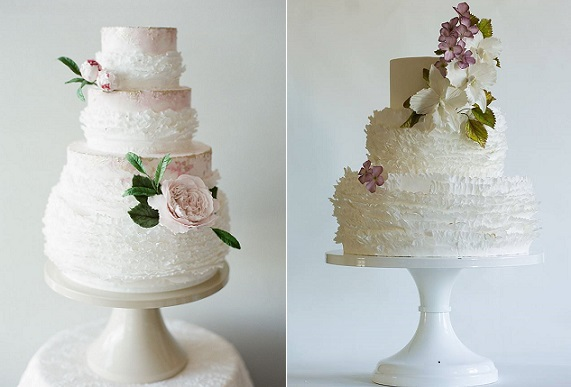 ruffle wedding cakes with garden flowers by Megan Joy, Cara Leonard Photography left, Lina Veber right