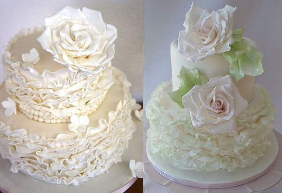 ruffle wedding cakes with sugar flowers by Sweet Things by Fi left, Susanna's Custom Cakes right