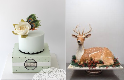 rustic wedding cake in sage with peacock feathers by Faye Cahill Cake Design left and sculpted deer cake by Sylvia Weinstock right