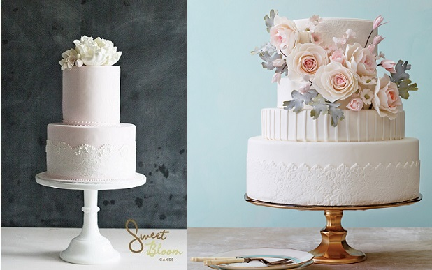 textured lace band wedding cakes by Sweet Bloom Cakes left, Nine Cakes right with Philip Ficks Photography via The Knot