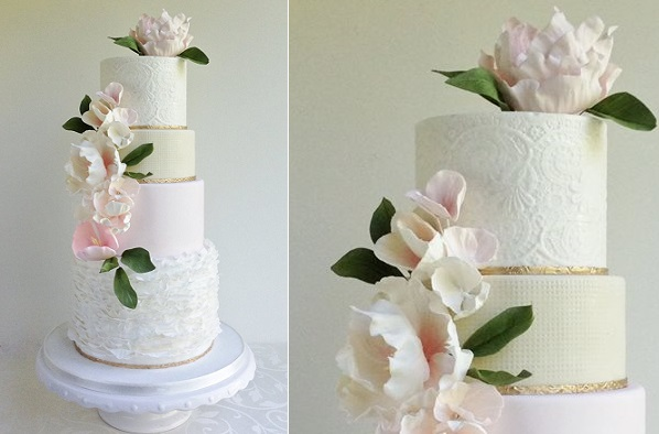textured wedding cake with embossing by the Cake Whisperer