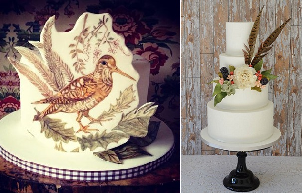 wildlife inspired wedding cakes with pheasant feather cake by Krumblies Wedding Cakes right, handpainted snipe cake by The Artful Bakery, Ire