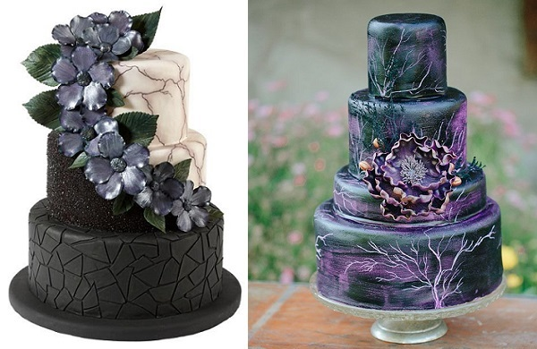 Halloween Wedding Cake by Wilton left,right by Sweet Tooth Creations, Meg Sexton Photography for Green Wedding Shoes, Maleficent inspired shoot