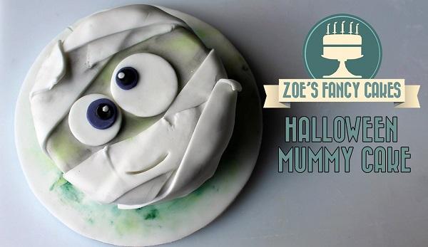 Halloween cake tutorial bandaged mummy cake