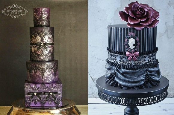 Halloween wedding cakes by Sweet and Swanky Cakes left, Sweet Lake Cakes right