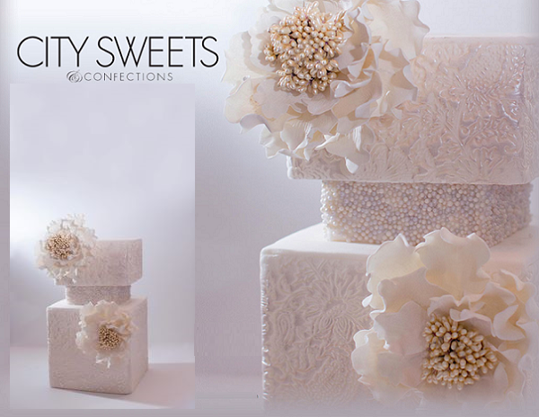 embossed lace wedding cake with beading by City Sweets & Confections, Lilian Haider Photography