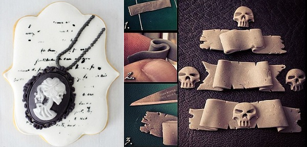 gothic halloween cameo cookie tutorial by The Simple Sweet Life, skull banner via Craft Gossip