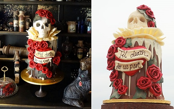 gothic wedding cakes by Choccy Woccy Doodah
