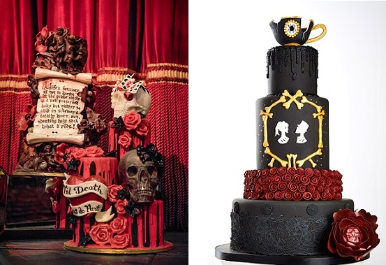 gothic wedding cakes by Choccywoccydoodah left, Black Cherry Cake Co. right