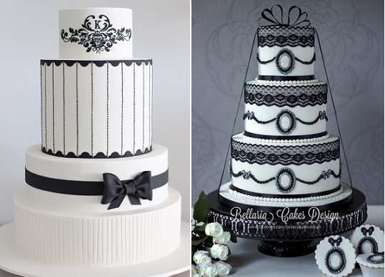 gothic wedding cakes by Sharon Wee left, Bellaria Cakes Design right