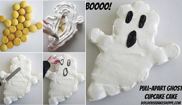 halloween ghost cupcake cake tutorial by The Doll House Cake Shoppe