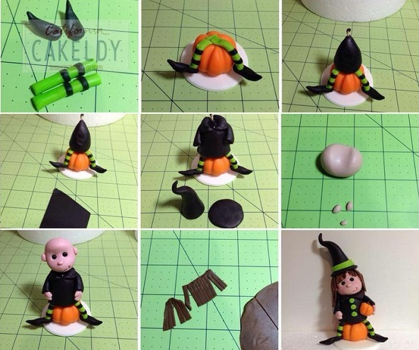 halloween witch cake topper tutorial by The California Cakeldy