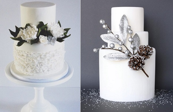rustic winter wedding cakes winter woodland by Laugh Love Cakes left, Eat Cake Be Merry right