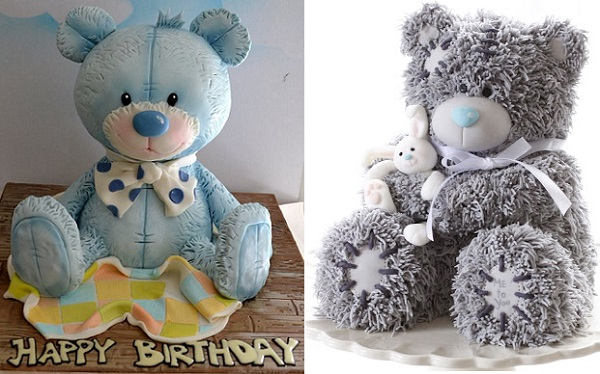 tatty teddy bear cakes by Sweet Ruby Cakes left, Bake A Boo right