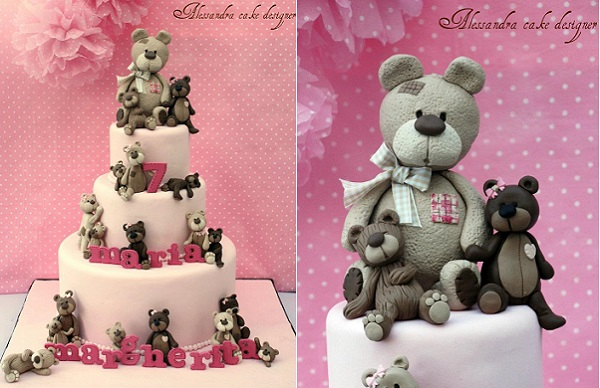 teddy bear cake toppers and sugar models by Alessandra Frisoni