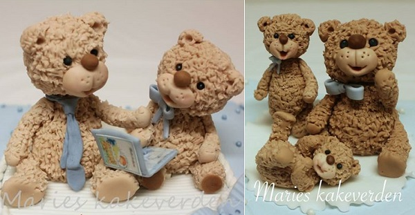 teddy bear family cake toppers by Marie's Kakeverden