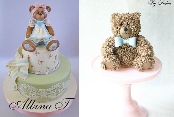 vintage teddy bear cake topers by Albina J Cakes left and Leslea Matsis right