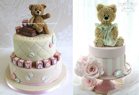 vintage teddy bear cakes by Zoe's Fancy Cakes left, Leslea Matsis right