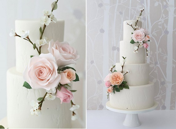 white textured woodgrain wedding cake by Zoe Clark