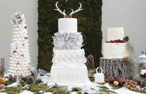 winter woodland wedding cake stag antlers by Cakes-by-Krishanthi, image by Photography by Nicola and Glenn