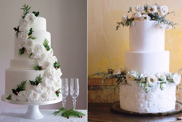 winter woodland wedding cakes by Laura Loukaides left, Sweet & Saucy right with Brooke Merrill Photography