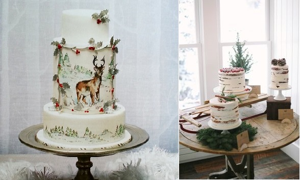 winter woodland wedding cakes by Nevie Pie for Squires Kitchen Mag left, image right by jacquelynnphoto .com