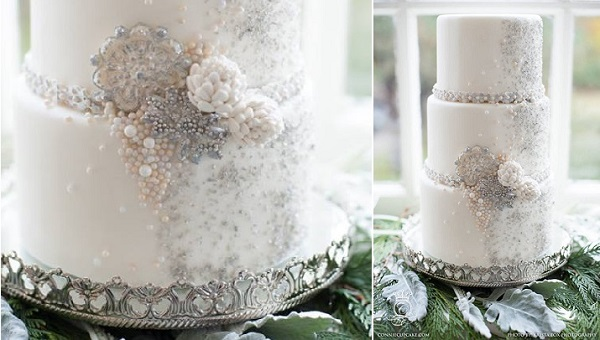 winter wedding cake by The White Cakery, formerly Connie Cupcake Luxury Cakes, Krista Fox Photography