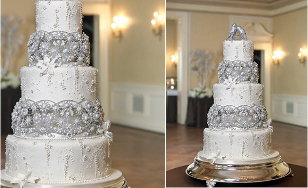 antique winter wedding cake by The Rolling Pin Bakery, formerly J'adore Cakes Company
