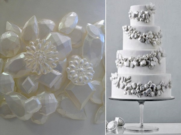 edible sugar gems by Wendy K left, winter gems wedding cake via Martha Stewart Weddings right